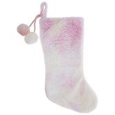 Pink Tie Dye Stocking With Pom Poms