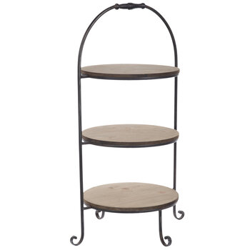 Rustic Three-Tiered Metal Tray Stand