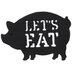Black Let's Eat Pig Metal Trivet