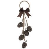 Brown Acorn Bells Metal Door Hanger