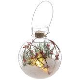 Pine, Berries & Flocking Light Up Ball Ornament