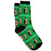 Hedgehog In Santa Hat Crew Socks