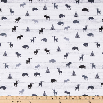 Shiplap Forest Animals Cotton Calico Fabric