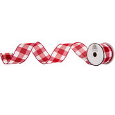 Wide Buffalo Check Wired Edge Ribbon - 2 1/2""
