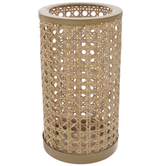 Gold & Rattan Candle Holder - Large