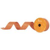 "Orange Metallic Wired Edge Ribbon - 1 1/2"""