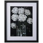 White Floral On Black Framed Wall Decor