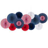 Red, White & Blue Paper Fans
