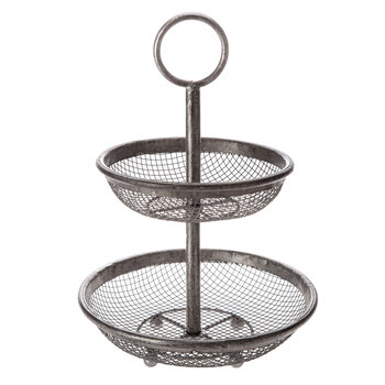 Antique Silver Two-Tiered Metal Mesh Tray