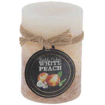 "White Peach Pillar Candle - 2 3/4"" x 4"""
