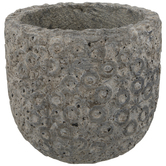 Gray Circle Embossed Cement Flower Pot
