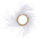 Gold & White Feather Napkin Ring