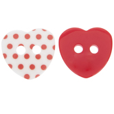 Red & White Heart Buttons