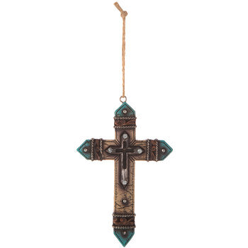 Turquoise & Tan Rhinestone Wall Cross