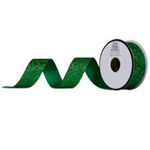 """Green Glitter Cut Edge Ribbon - 7/8"""""""