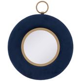 Blue & Gold Round Velvet Wall Mirror