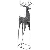 Dark Gray Glitter Metal Deer
