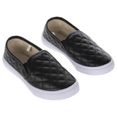 Black Quilted Youth Sneakers