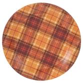 Orange & Brown Plaid Paper Plates - Large