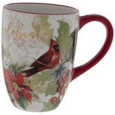 Celebrate Cardinal & Poinsettia Mug