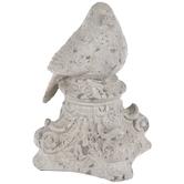 Gray Stone Look Bird On Pedestal