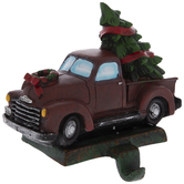 Red Truck With Tree Stocking Holder