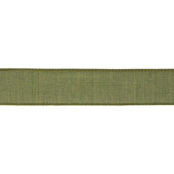 """Green Faux Linen Wired Edge Ribbon - 1 1/2"""""""