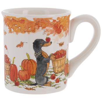 Dog With Scarf Autumn Mug