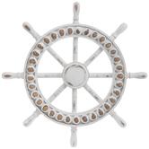 White Ship Wheel Wall Decor