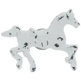 Distressed White Horse Metal Knob