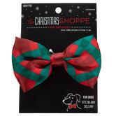 Red & Green Buffalo Check Dog Collar Bow Tie