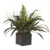 Mixed Greenery In Embossed Pot