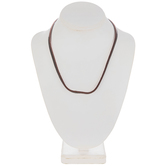 Brown Wide Leather Cord Necklace - 17 1/2""