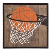 Basketball In Net Wood Decor