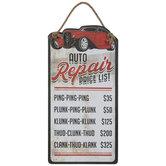 Auto Repair Price List Wood Wall Decor