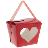 Red Foil Heart Take Out Boxes