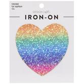 Rainbow Glitter Heart Iron-On Applique