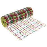 """Red, Green & White Plaid Deco Mesh Ribbon - 10"""""""