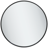 Black Metal Round Wall Mirror - Large