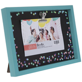 """Turquoise & Confetti Wood Clip Frame - 6"""" x 4"""""""
