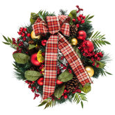 Pinecone & Berry Wreath With Plaid Bow