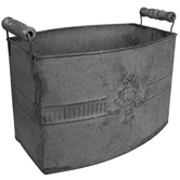 Zinc Embossed Metal Container With Handles
