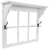White Window Frame Shelf With Hooks