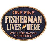 Fisherman Lives Here Metal Sign