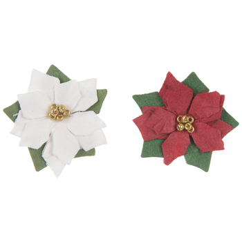 Red & White Poinsettia Embellishments