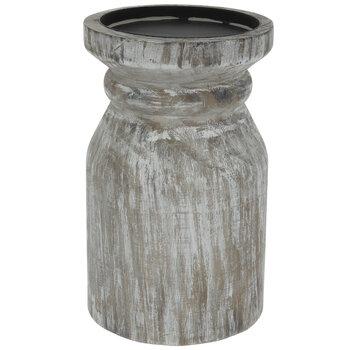 Round Whitewash Wood Candle Holder