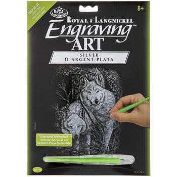 Wolves In Trees Silver Foil Engraving Art Kit