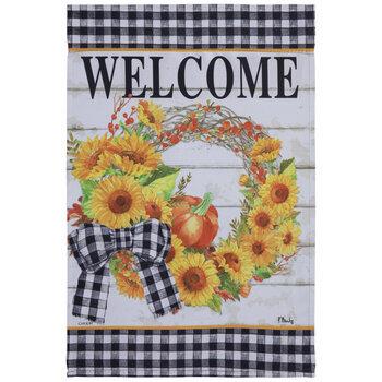 Welcome Sunflower Wreath Garden Flag