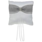 White & Gray Rhinestone Ring Pillow