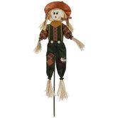 Scarecrow With Orange Hat Garden Stake